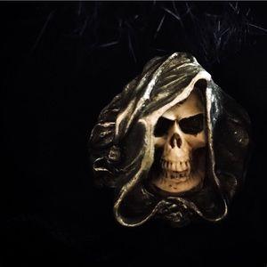 Cloaked Alchemist Warlock Handcrafted Skull Ring